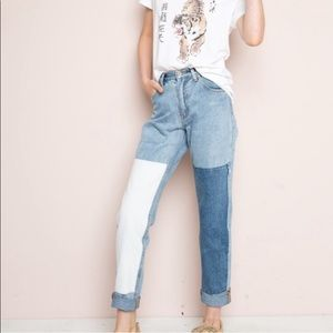 denim patch work jeans